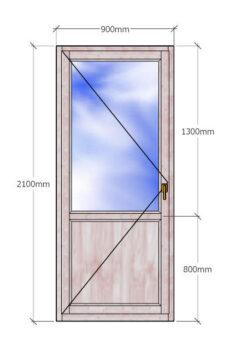 деревянная Балконная дверь 2100x900 с двухкамерным стеклопакетом и филенкой