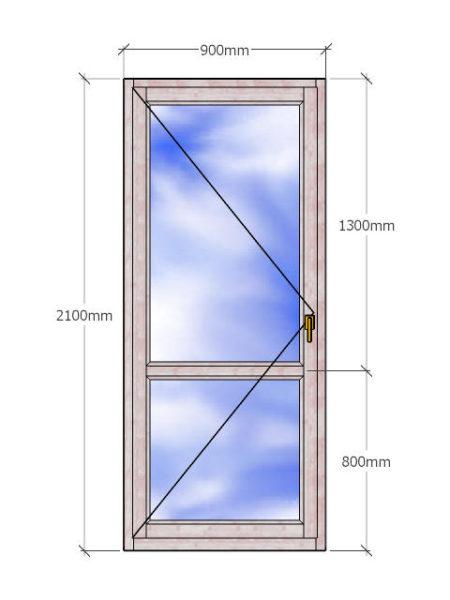 деревянная Балконная дверь 2100x900 с двухкамерным стеклопакетом