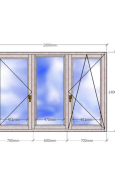 Трехстворчатое деревянное окно с двухкамерным стеклопакетом