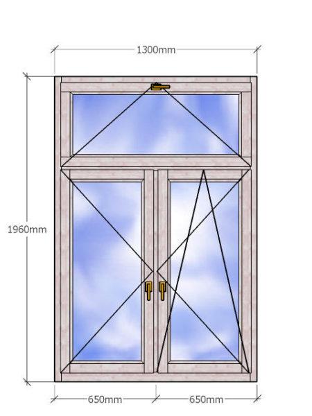 Двустворчатое деревянное окно с двухкамерным стеклопакетом