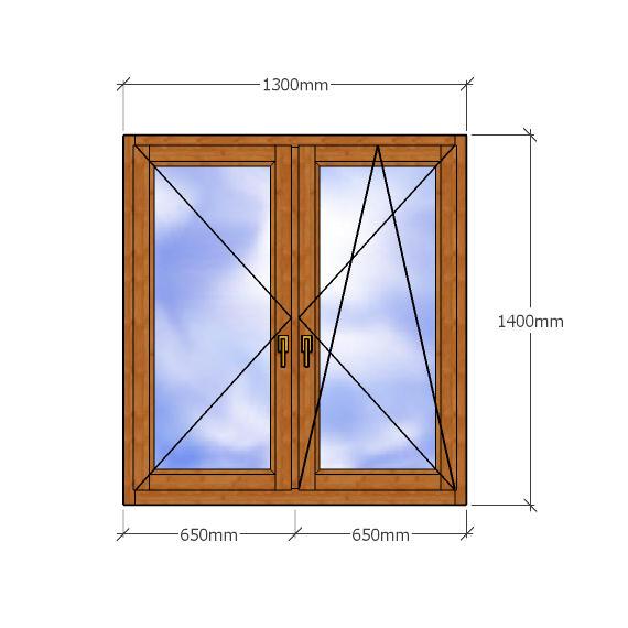 Двустворчатое окно 1400х1300мм, правая створка поворотно-откидная, левая откидная